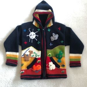 Embroidered Handmade Outdoor Landscape 3T Sweater